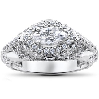 14k White Gold 1 3/4 ct Vintage Marquise Diamond Engagement Antique Unique Ring (G-H, SI2-I1)