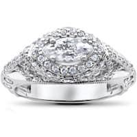 14k White Gold 1 3/4 ct Vintage Marquise Diamond Engagement Antique Unique Ring