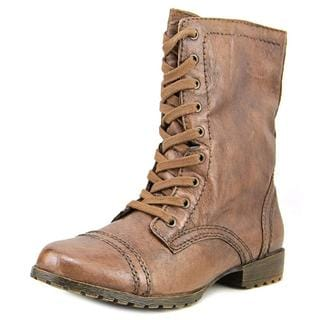 Nine West Women's Haileigh Brown Leather Combat Boots