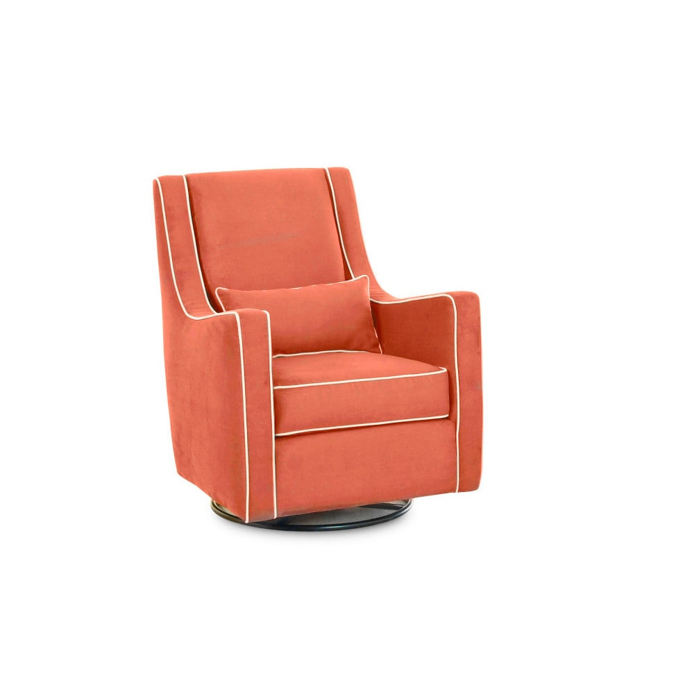 Made to Order Klaussner Lacey Orange Wood Glider Chair (L...