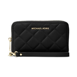 Michael Kors Jet Set Black Leather Travel Large Flat Quilted Phone Case Wallet