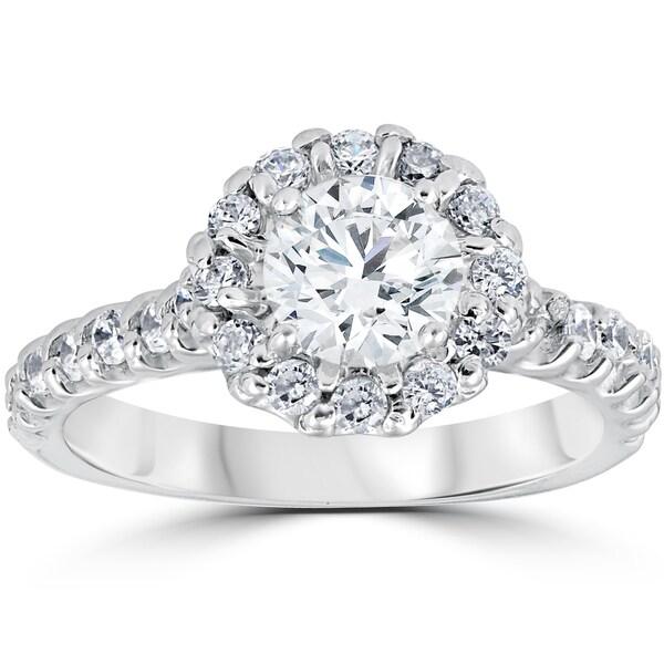 14k White Gold 1 3/8ct TDW Halo Diamond Engagement Ring 14K White Gold