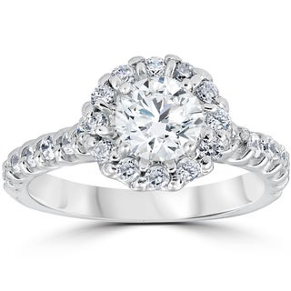 14k White Gold 1 3/8ct TDW Halo Diamond Engagement Ring 14K White Gold