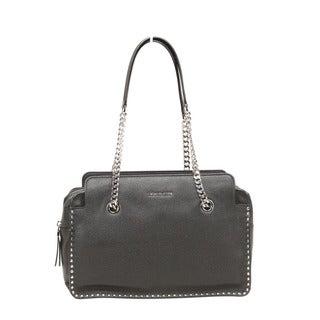 Michael Kors Astor Large Black Leather Satchel Handbag