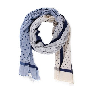 Handmade Saachi Women's Polka Dot Cotton Scarf (India)