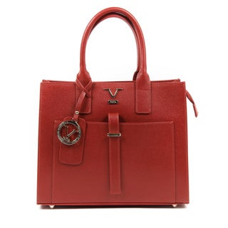 Versace 1969 V Italia Leather Red Tote Bag