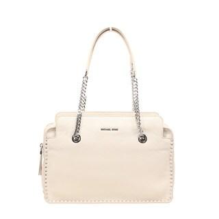 Michael Kors Astor Large Cement Leather Satchel Handbag