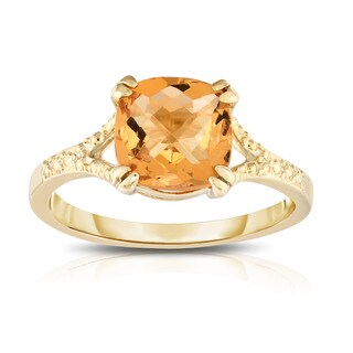 Noray Designs 14K Yellow Gold Checkerboard Cushion Cut Citrine (8 MM) Ring