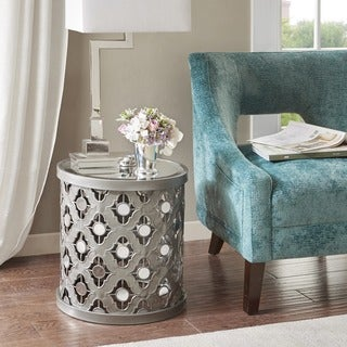 Madison Park Deon Silver Quatrefoil Mirror Accent Table