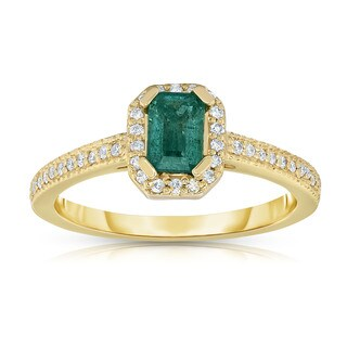 Noray Designs 14K Yellow Gold Emerald Cut Emerald & Diamond (0.15 Ct, G-H, SI1-SI2) Ring - Green