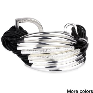 Saachi Multi-cord with Silver-Tone Brushed Tube Beads Bracelet
