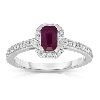 Noray Designs 14K White Gold Emerald Cut Ruby & Diamond (0.15 Ct, G-H, SI1-SI2) Ring - Red