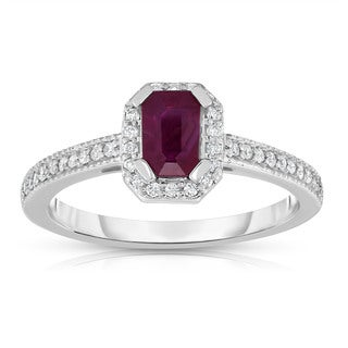 Noray Designs 14K White Gold Emerald Cut Ruby & Diamond (0.15 Ct, G-H, SI1-SI2) Ring