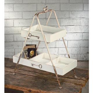 Off-white Wood 2-tier Shelf with Metal Frame