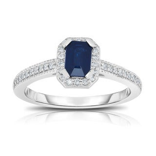 Noray Designs 14K White Gold Emerald Cut Blue Sapphire & Diamond (0.15 Ct, G-H, SI1-SI2) Ring