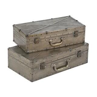 Industrial Distressed Metal Display Suitcases (Set of 2)