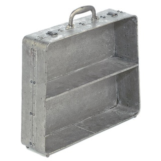 Industrial Distressed Grey Metal Tapered Suitcase Shelf