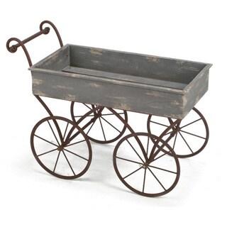 Blue and Grey Metal and Wood Wagon