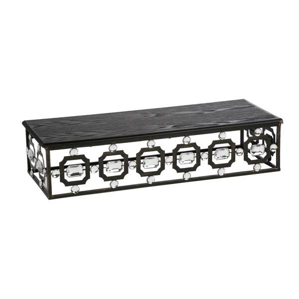 Wood And Metal Wall Shelves black wood top/metal rectangular beaded wall shelf - free shipping