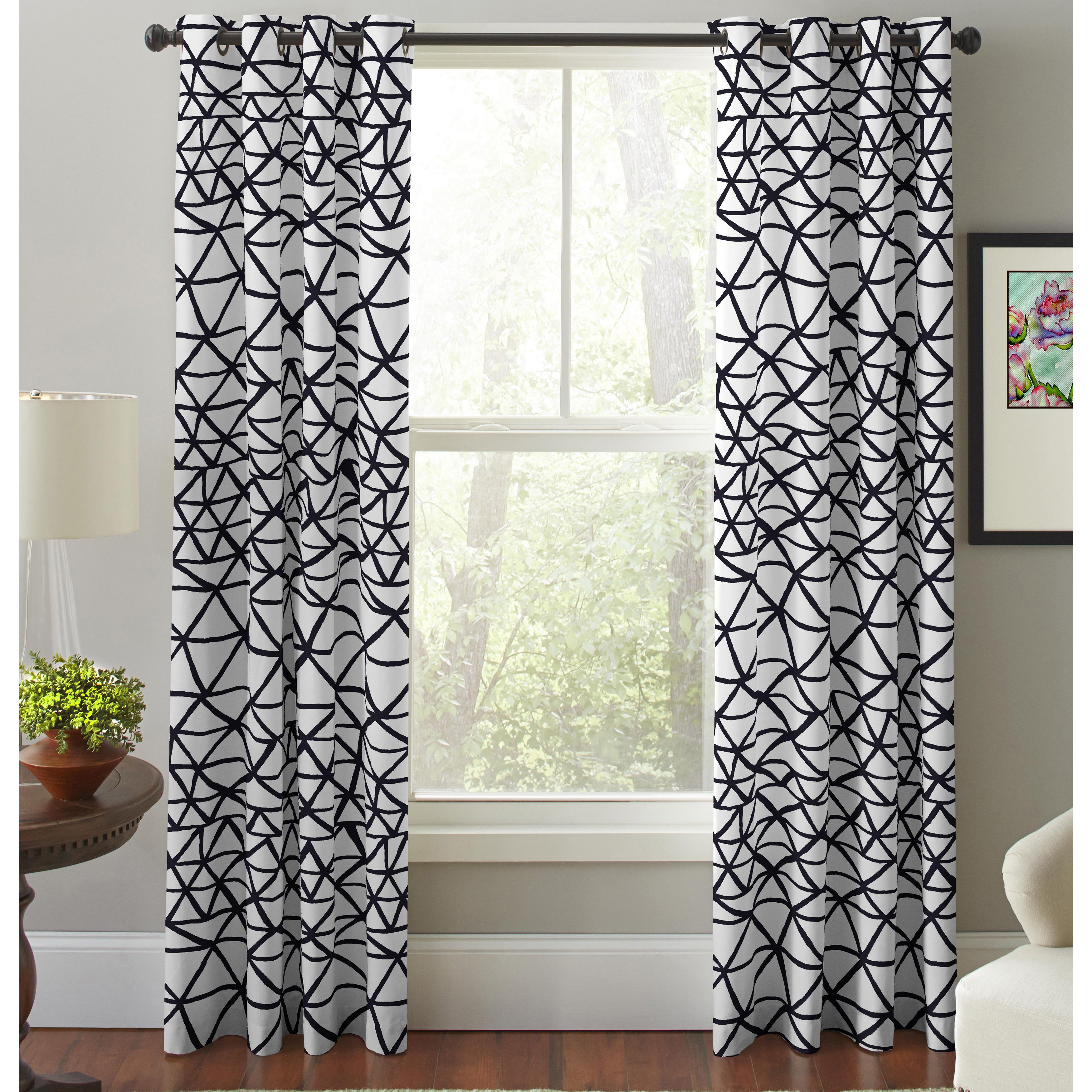 Pointhaven Bridge Black and White Cotton Printed Window C...