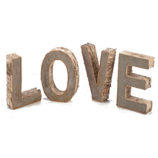 'Love' Birch Bark and Iron Letter Set