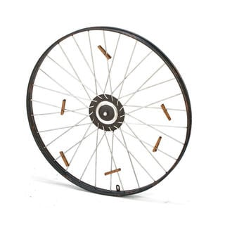 Metal Bike Wheel With 9 Clothespins