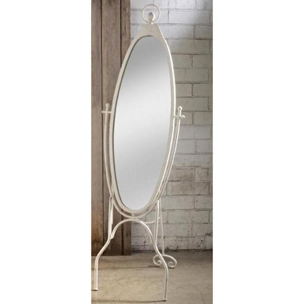 Oval Mirror With Metal Frame And Floor Stand Antique White