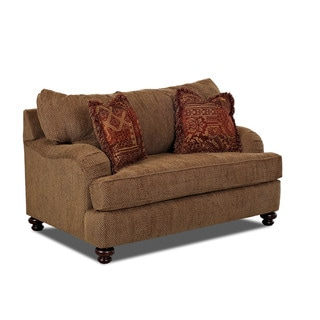 Klaussner Brown Oversized 'Walker' Chair with 4 Throw Pillows and Lumbar Pillow