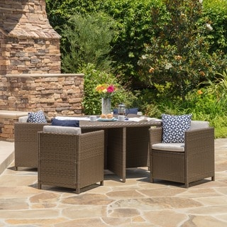 Puerta Outdoor 5-piece Wicker Dining Set with Cushions by Christopher Knight Home