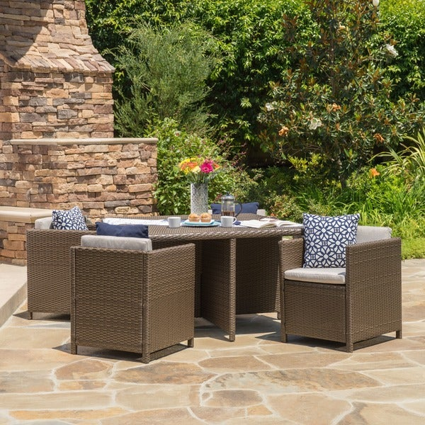 shop puerta outdoor 5 piece wicker dining set with cushions by christopher knight home on sale. Black Bedroom Furniture Sets. Home Design Ideas