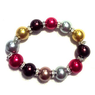 Multicolored Single Row Faux Pearl Stretch Bracelet