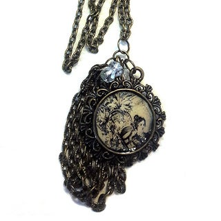 Women's Vintage Style Antique Bronze Tasseled Medallion Pendant Necklace