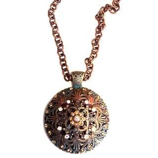 Victorian Style Bronze Filigree Medallion Pendant Necklace