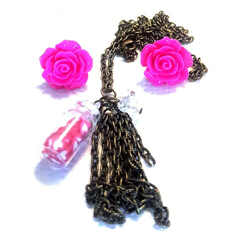 Bright Pink Rose Earring and Necklace Jewelry Set
