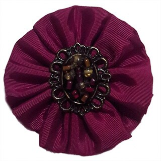 Woman's Magenta Fabric Beaded Rosette Brooch