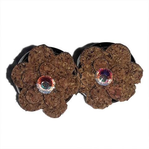 Rhinestone Cork Flower Earrings