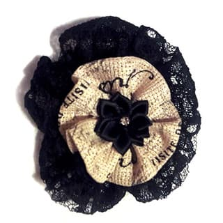Black Lace and Ribbon Fabric Rosette Brooch|https://ak1.ostkcdn.com/images/products/13373701/P20072867.jpg?impolicy=medium
