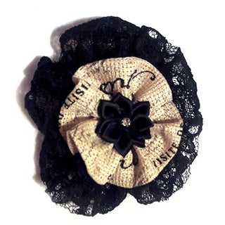 Black Lace and Ribbon Fabric Rosette Brooch
