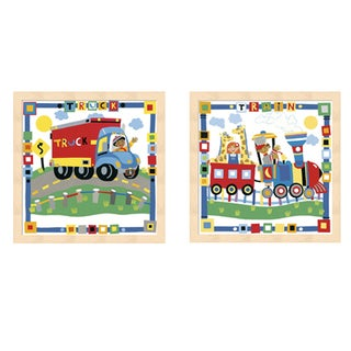 Cheryl Piperberg 'Kid's Train and Truck' Beechwood Framed Art (Set of 2)