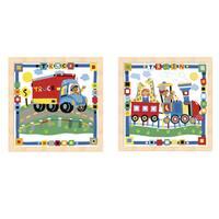 Cheryl Piperberg 'Kid's Train and Truck' Beechwood Framed Art (Set of 2) - Multi