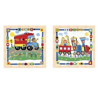 Cheryl Piperberg 'Kid's Train and Truck' Beechwood Framed Art (Set of 2)