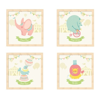 Cleonique Hilsaca 'Little Circus Animals (Pastel)' Beechwood Framed Art (Pack of 4)