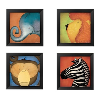 Ryan Fowler 'Safari Animal Wow' Wood-framed Art (Pack of 4)