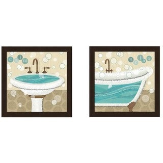 Veronique Charron 'Dancing Bubbles' Framed Art (Set of 2)
