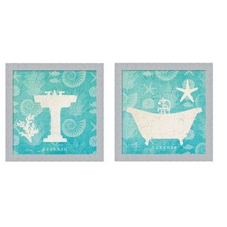 Studio Mousseau 'Pacific Bath' Wood Framed Art (Set of 2)