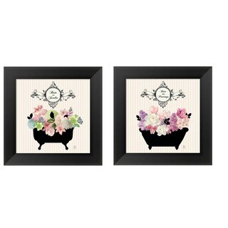 Studio Mousseau 'Bain Du Jardin' Black Wood Framed Art (Set of 2)