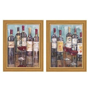 Heather A. French-Roussia 'Wine Tasting' Framed Art Pieces (Set of 2)