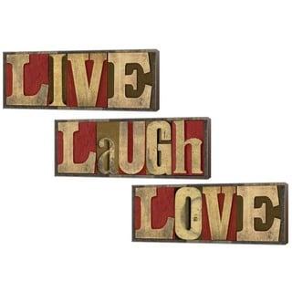 Tara Reed 'Live, Laugh, Love' Canvas Art (Set of 3)
