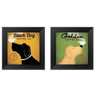 Ryan Fowler 'Dog Coffee' Black Wood Framed Art (Set of 2)