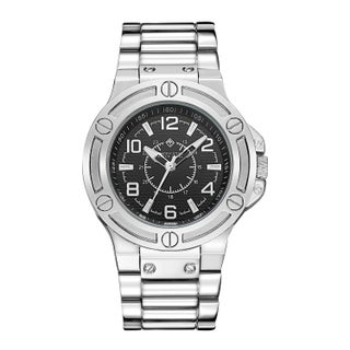 'Manis' Men's Quartz Oversized Stainless Steel Bracelet Watch 46mm by Timothy Stone (Option: Silver-Tone)
